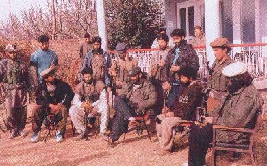 Terrorists at a hide-out in Kashmir.