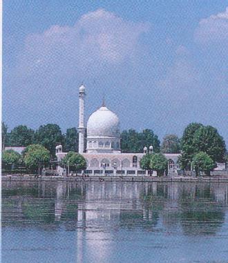 The Hazratbal mosque.